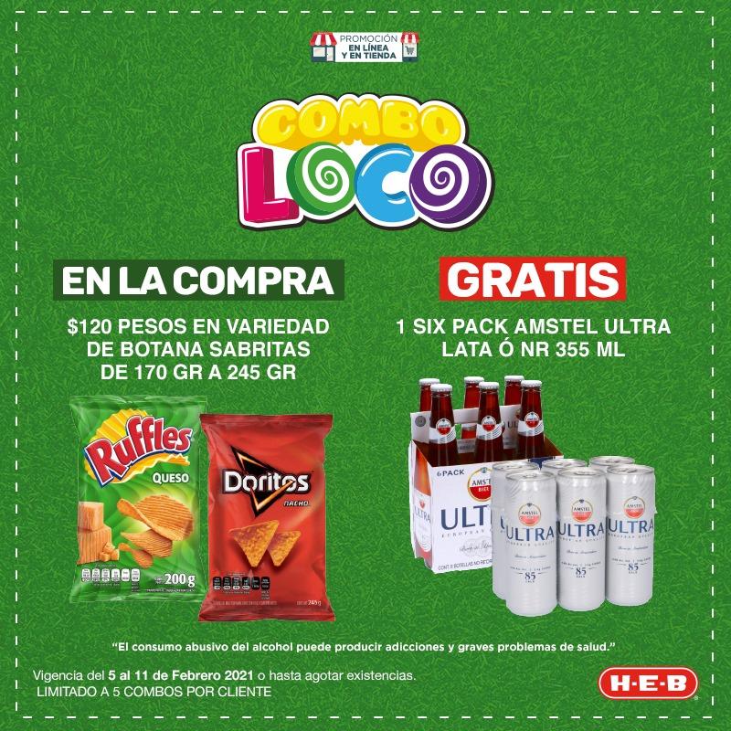 HEB: Compra 3 botanas Barcel y gratis 1 Six Pack Barrilito + Combos adicionales