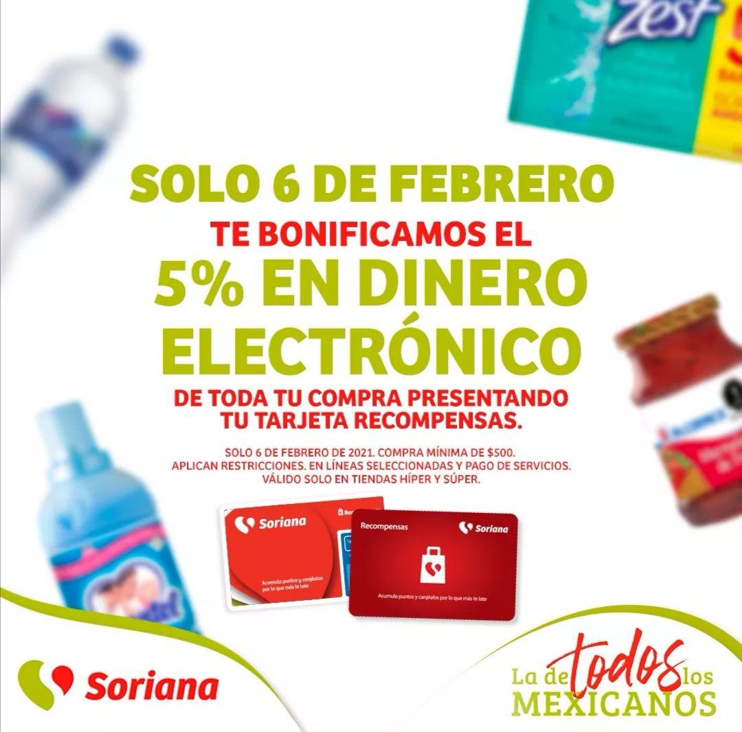 Soriana Híper y Súper: 5% de bonificación en dinero electrónico en tarjeta Recompensas (compra mínima $500) solo Sábado 6 Febrero