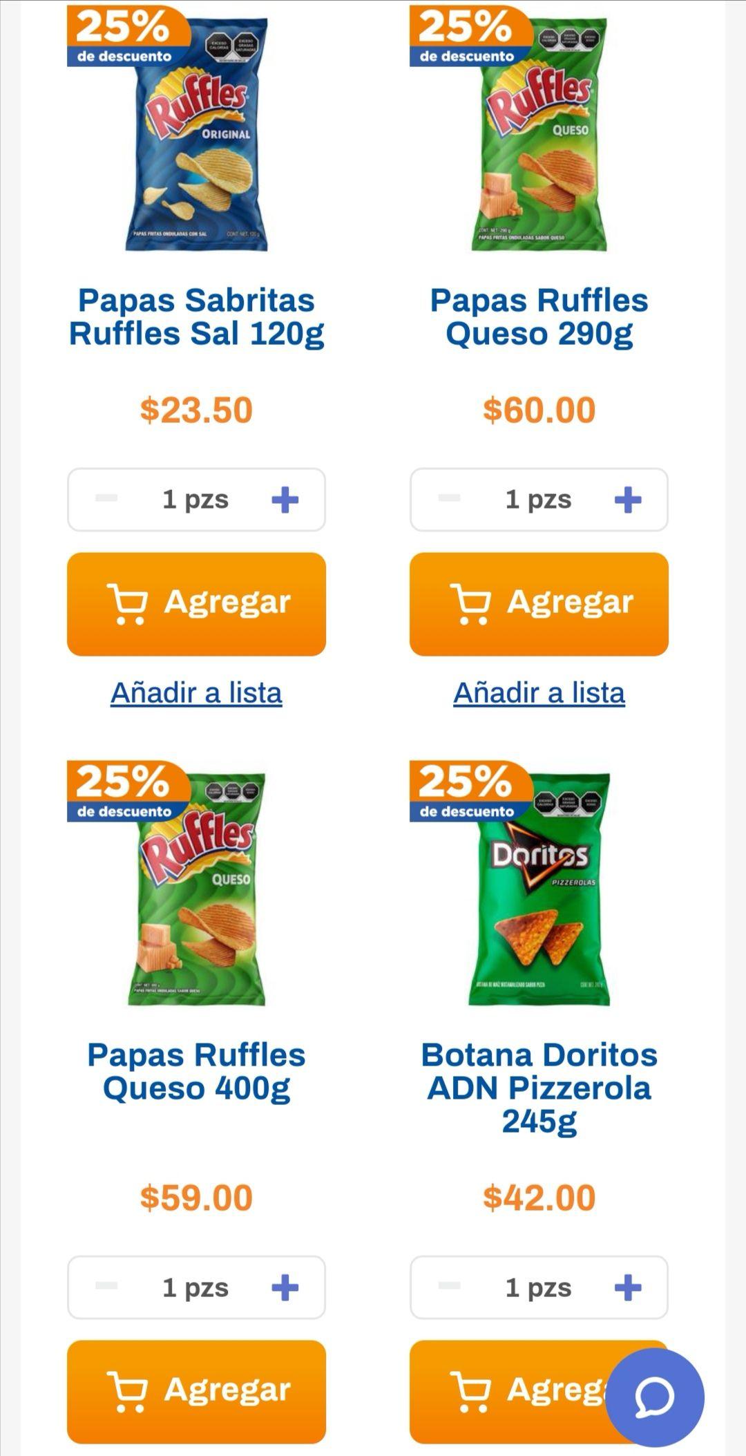 Chedraui: 25% de descuento en Ruffles y Doritos