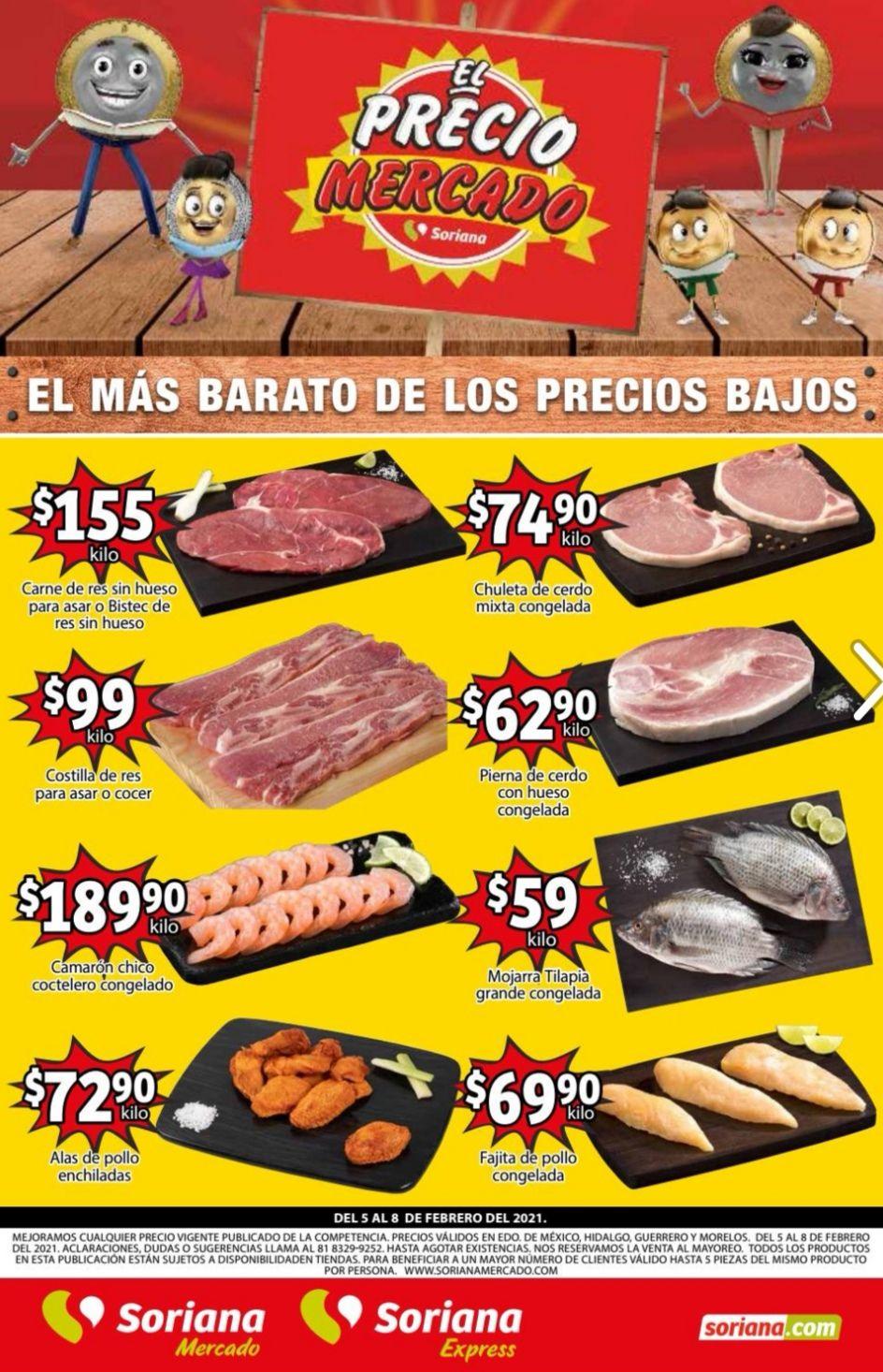 Soriana Mercado y Express: Volante de Ofertas Fin de Semana al Lunes 8 de Febrero