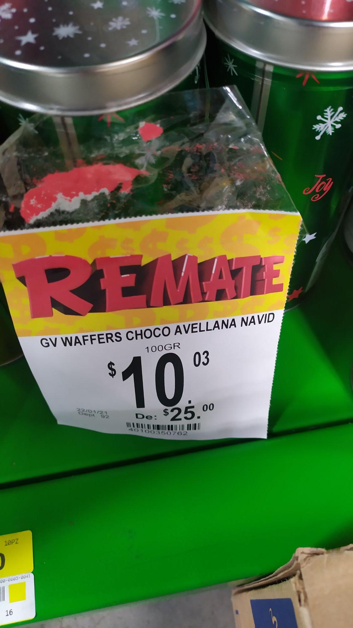Bodega Aurrerá abastos Culiacán. Waffers sabor avellana de $25 a $10