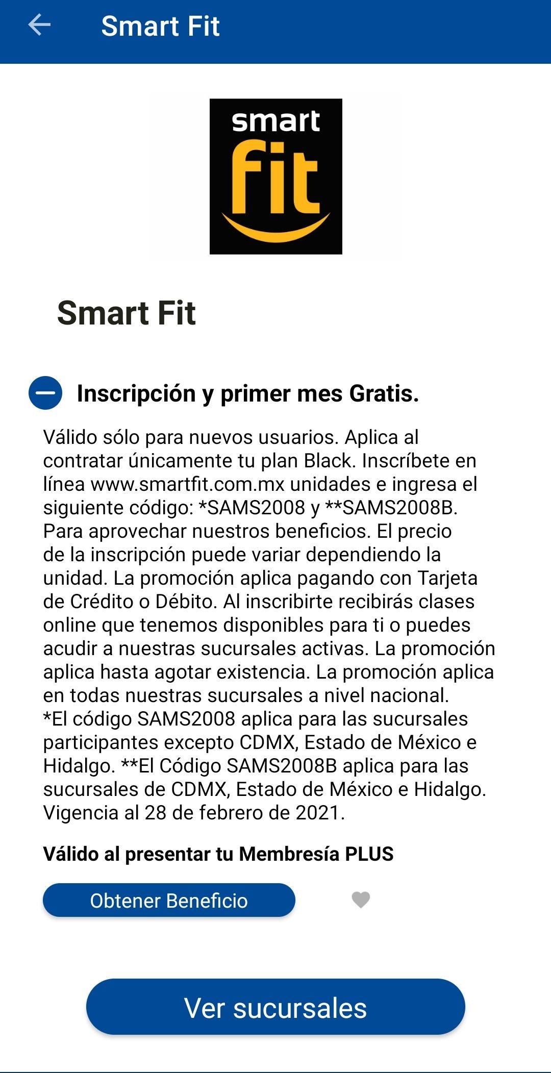Sam's Club: 1 mes gratis en Smart fit con membresía plus