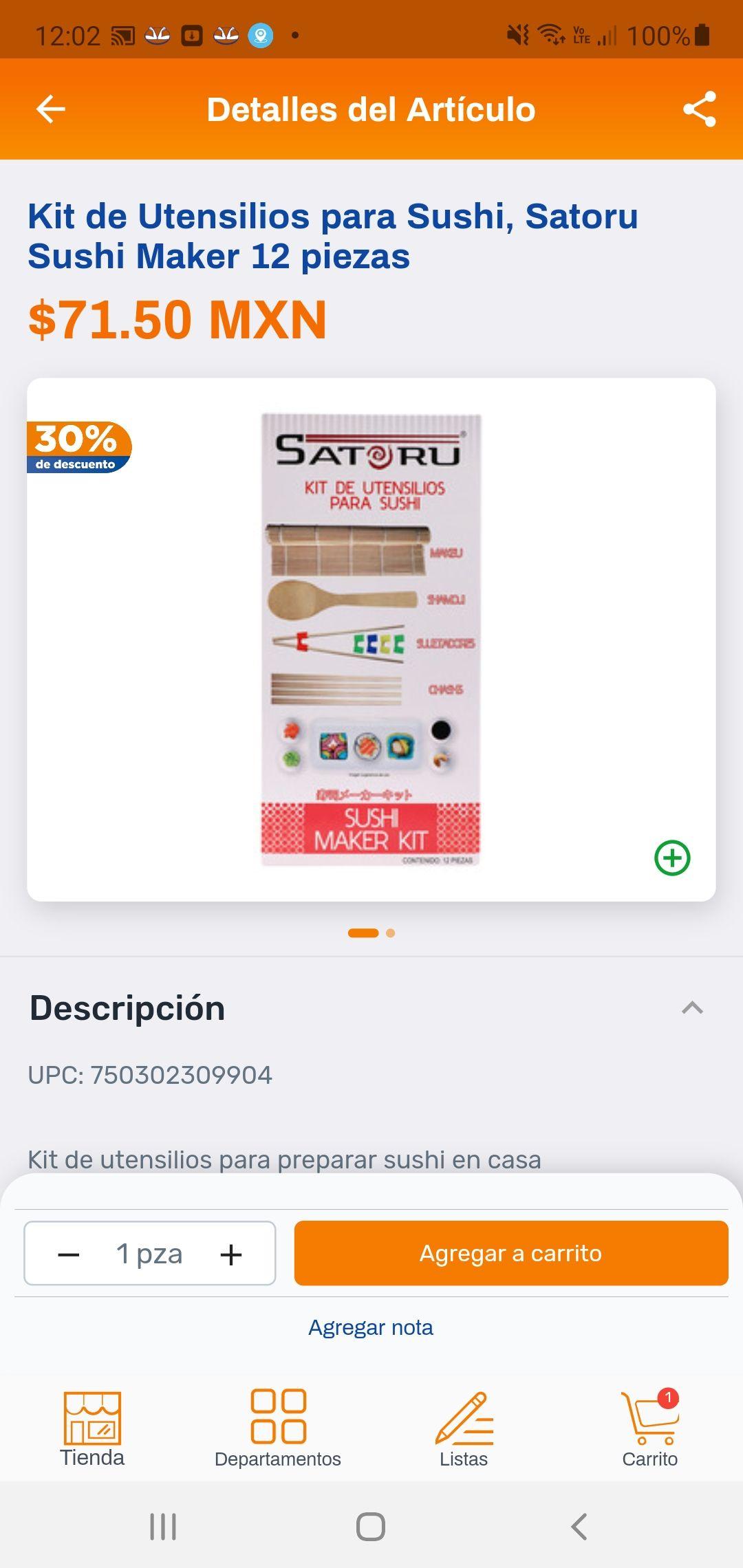 Chedraui, Kit de utensilios para sushi