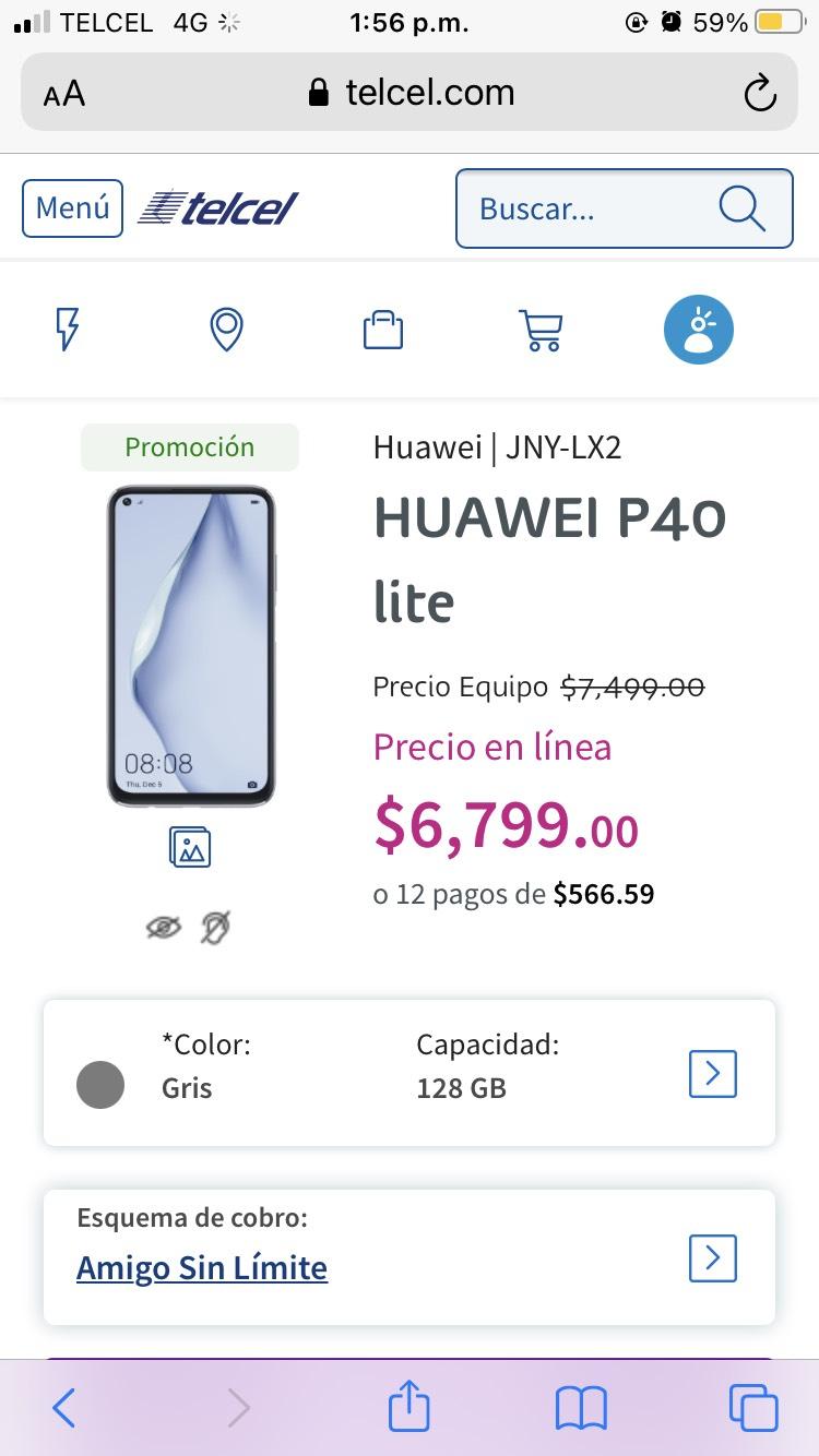 Telcel, Huawei p40 lite.
