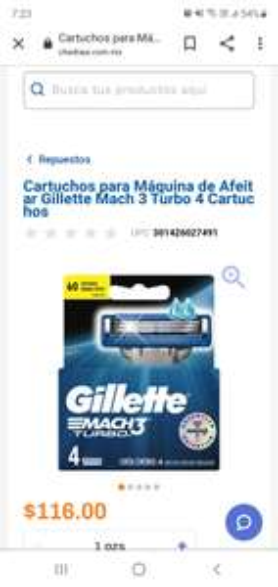 CHEDRAUI 4 CARTUCHOS GILLETTE MACH 3 TURBO