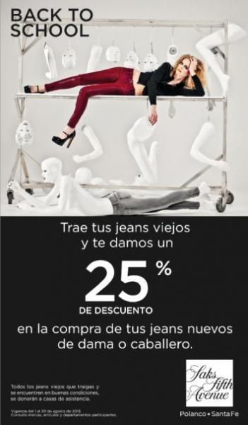 Saks Fifth Avenue: 25% de descuento en jeans al llevar unos viejos