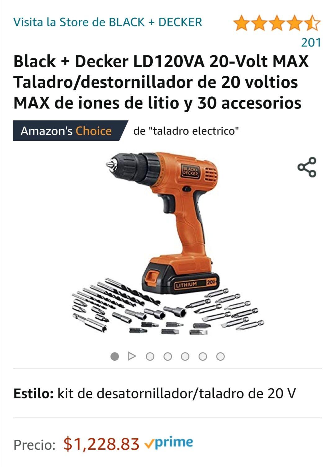 Amazon: Taladro inalambrico 20 volts con accesorios