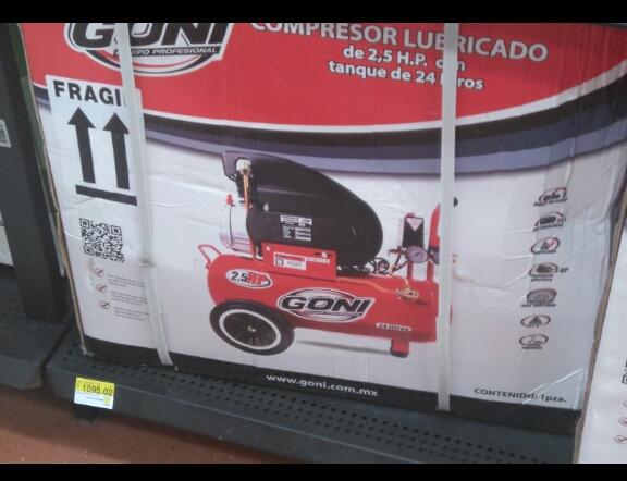 Walmart León: Compresora Goni 25 lts a $1,095.02
