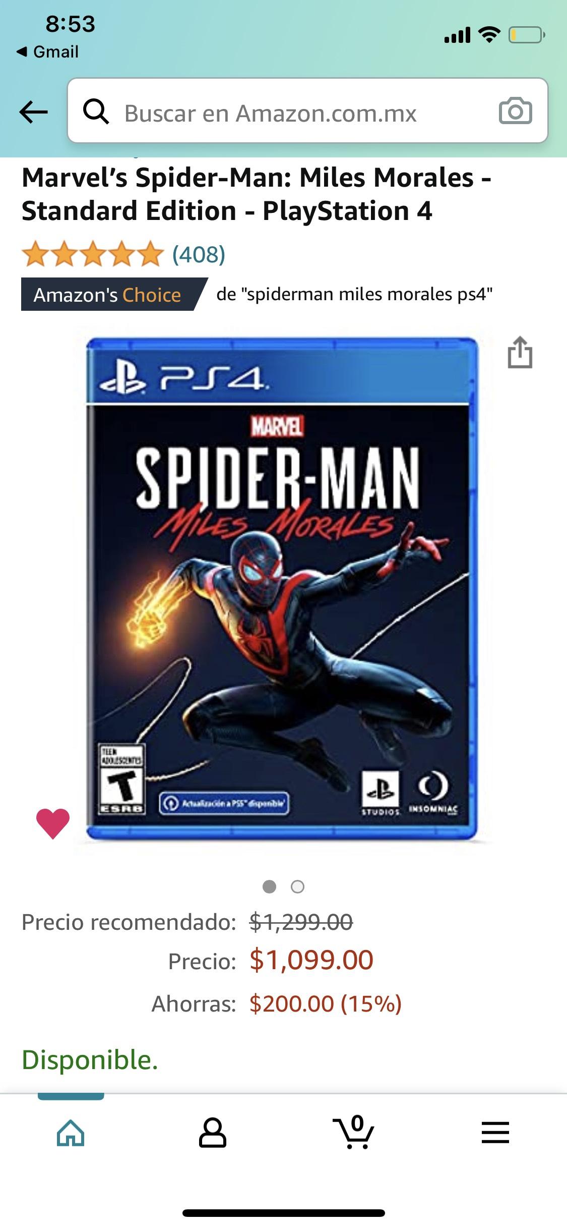 Amazon: Spiderman Miles Morales ps4