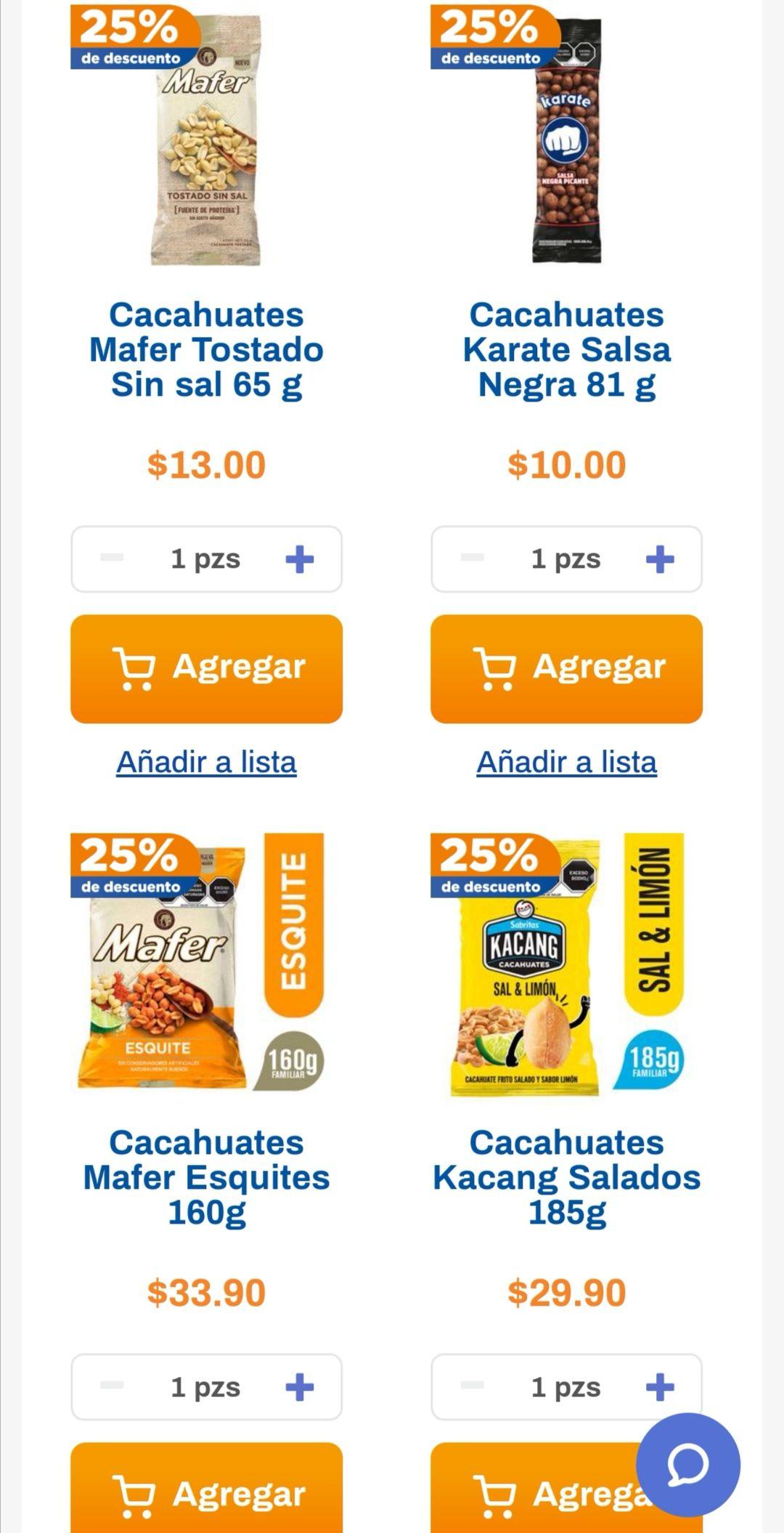 Chedraui: 25% de descuento en cacahuates seleccionados