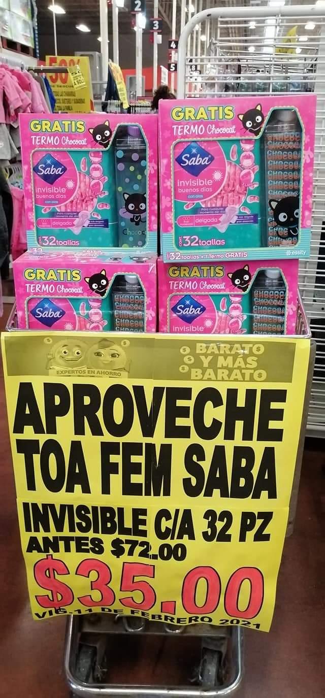 Soriana mercado OrIzaba toalla saba invisible + termo