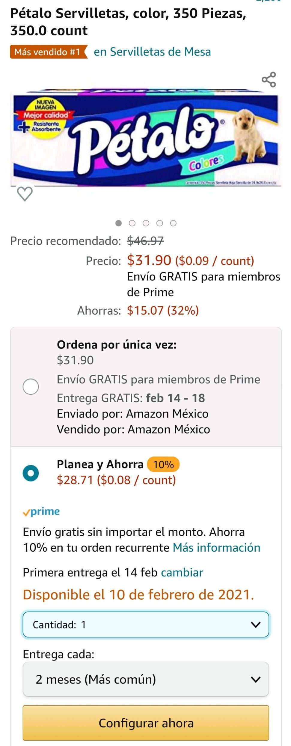 Amazon: Servilletas Pétalo color 350 servilletas cada paquete.
