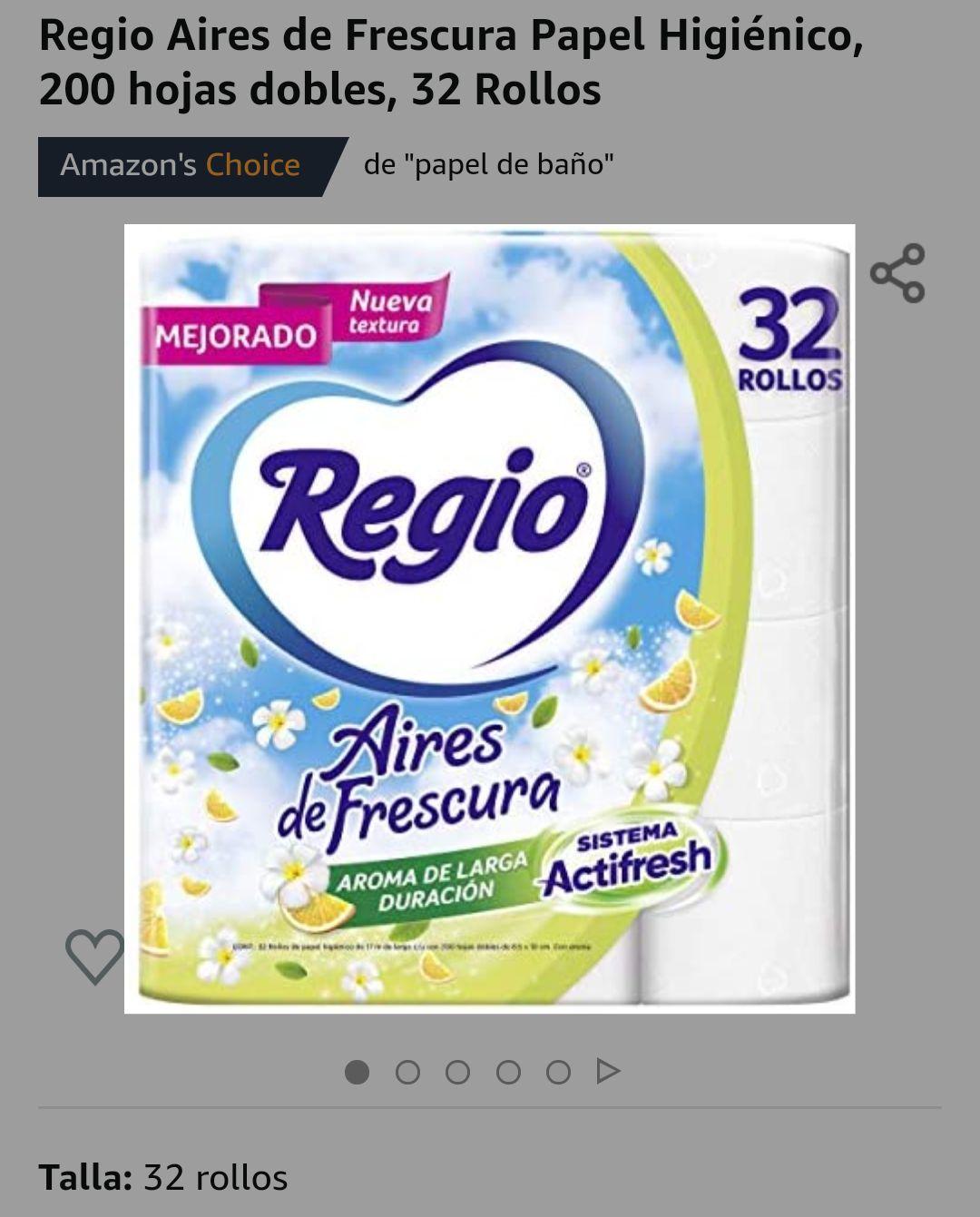 Amazon: 32 Rollos, Regio Aires de Frescura, 200 hojas dobles