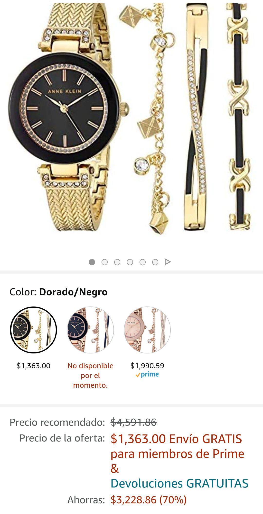 Amazon: Anne Klein AK/3394 - Juego de pulsera y reloj de pulsera con detalles de cristal Swarovski para mujer