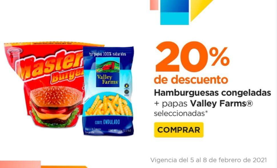 Chedraui: 20% de descuento en la compra de 1 paquete de hamburguesas seleccionadas + 1 bolsa de papas Valley Farms seleccionadas