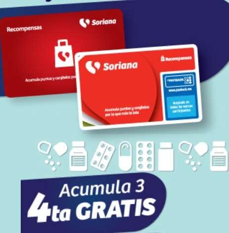 Soriana: 4 x 3 en Farmacia con Tarjeta Recompensas (Actualización productos 2021)