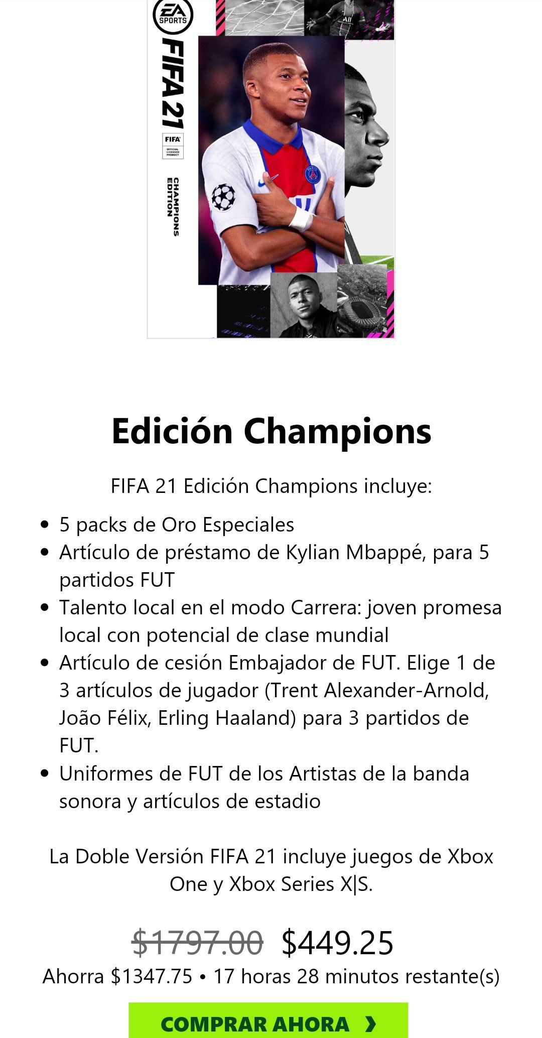 Microsoft Store: FIFA 21 edición champions
