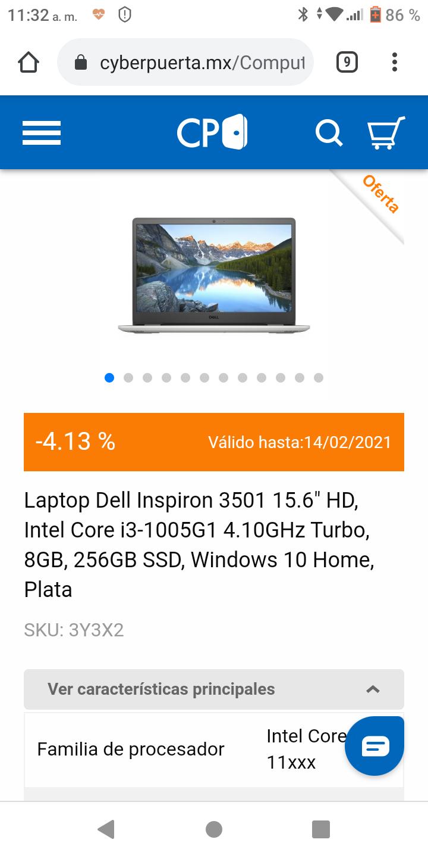 "CyberPuerta: Laptop Dell Inspiron 3501 15.6"" HD, Intel Core i3-1115G4 4.10GHz Turbo, 8GB, 256GB SSD, Windows 10 Home, Plata"