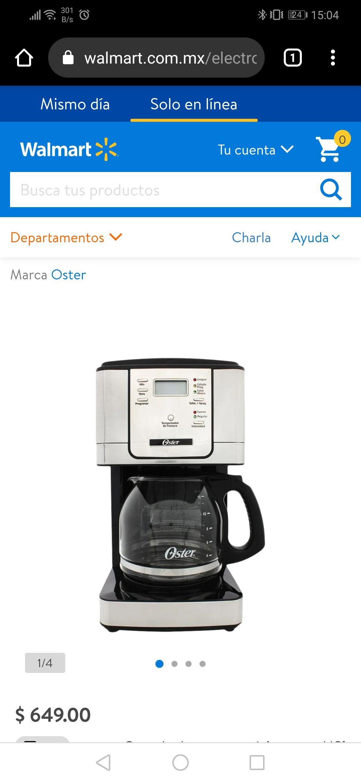 Walmart: Cafetera Oster BVSTDC4401-01 (la misma de Amazon)