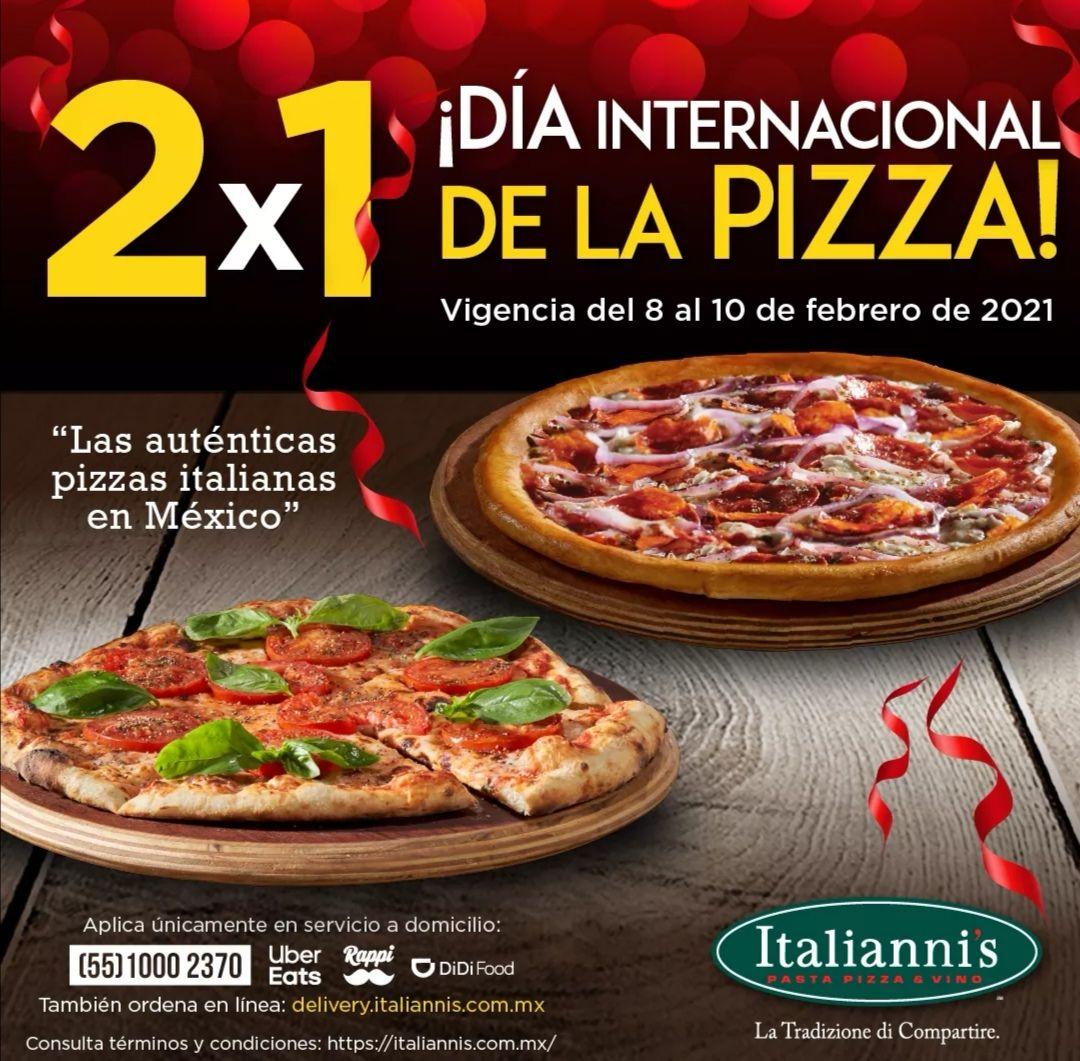 Italianni's: 2 x 1 en Pizzas por el Día Internacional de la Pizza