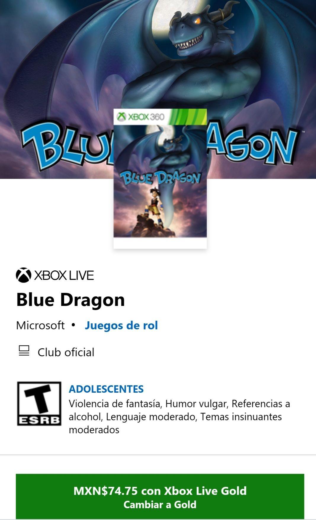 Microsoft Store: Blue Dragon(PRECIO CON GOLD)