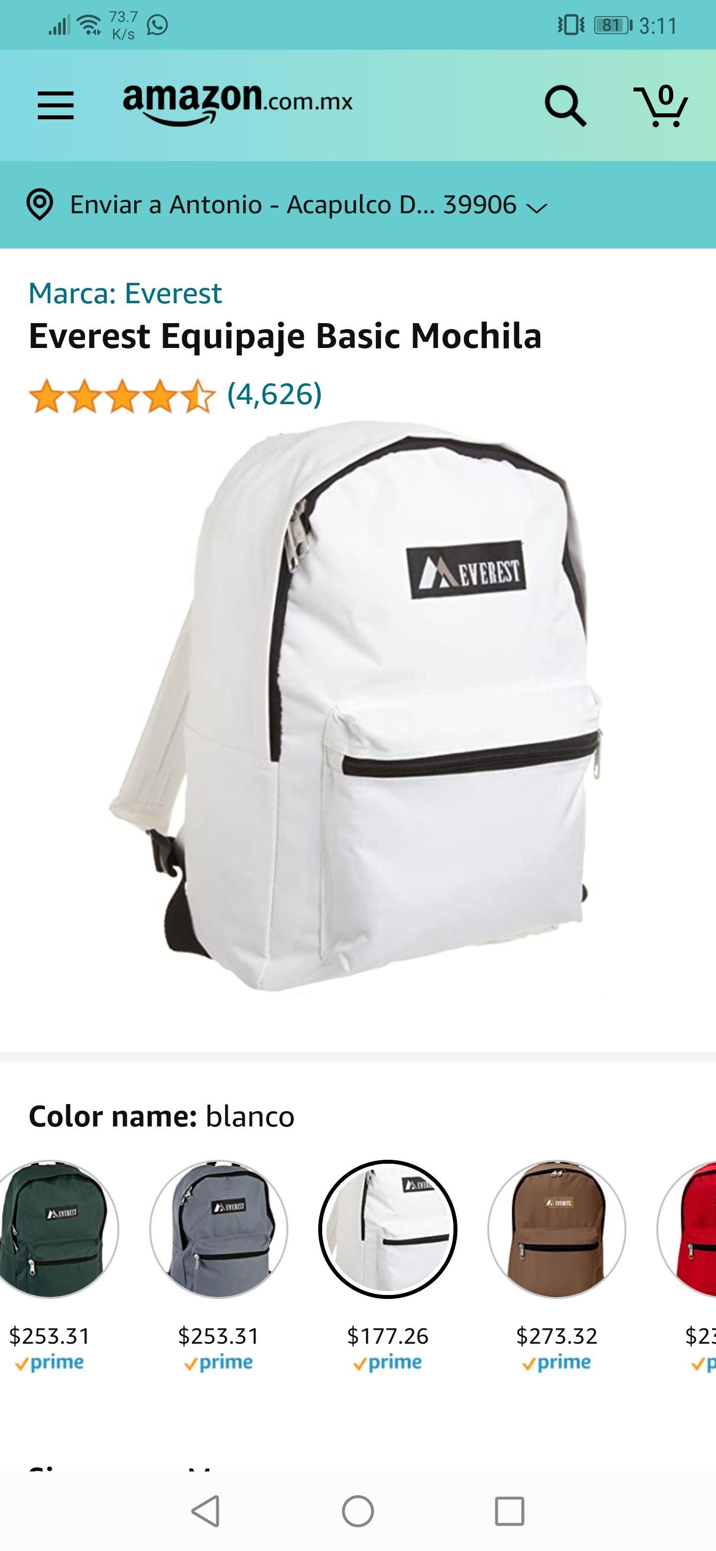 Amazon : mochila Everest talla M