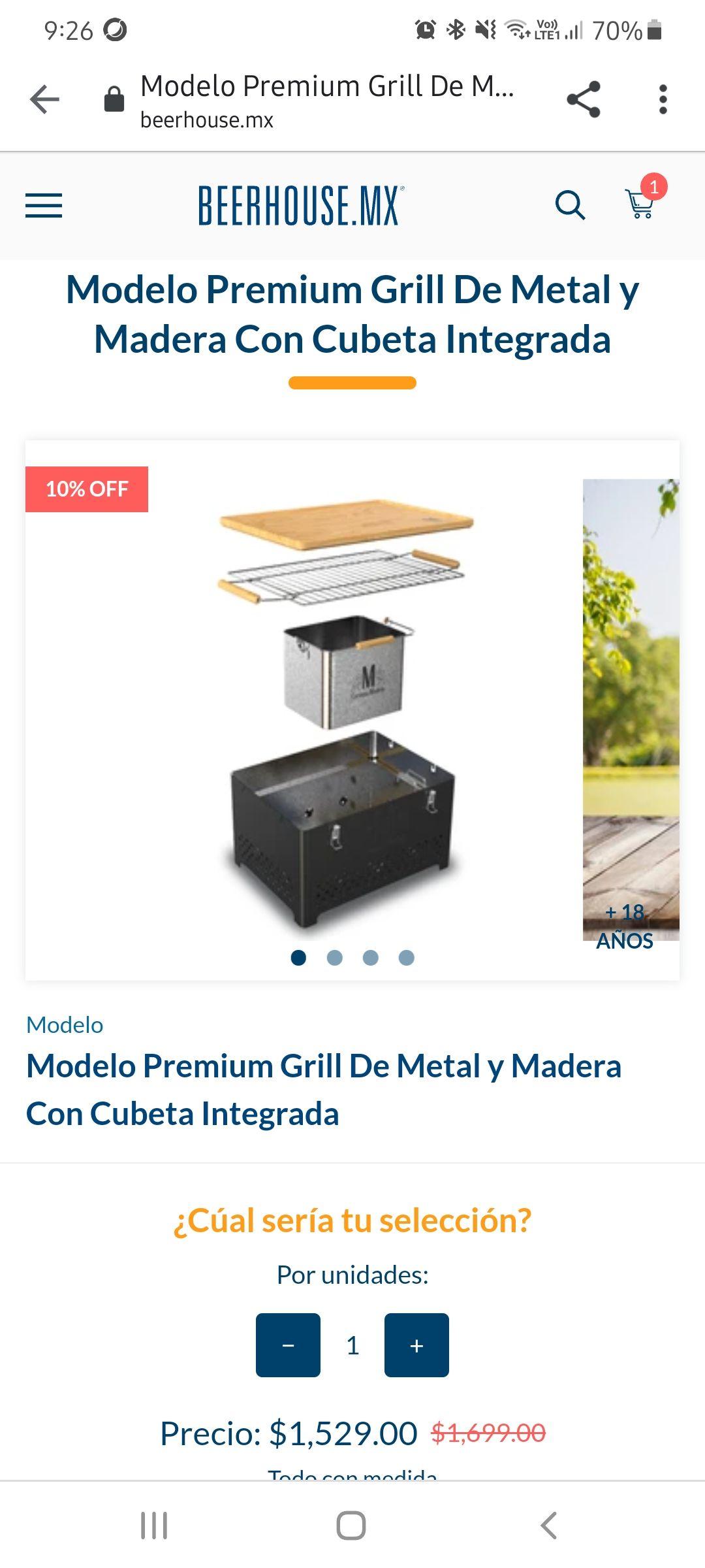 Beerhouse: Modelo Premium Grill De Metal y Madera Con Cubeta Integrada