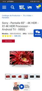 """Best Buy: Sony - Pantalla 65"""" - 4K HDR - X1 4K HDR Processor - Android TV - X85G"""