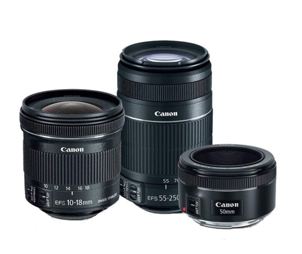 KIT DE LENTES CANON 55-250mm + 50 mm + 10-18mm