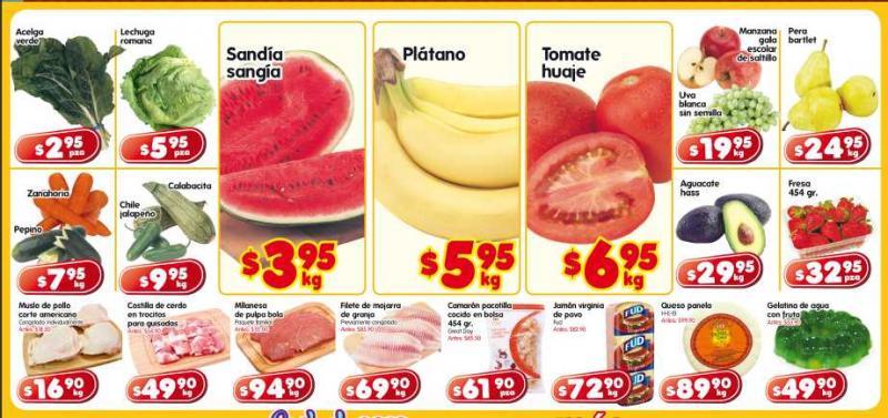 Frutas y verduras HEB: sandía $3.95, plátano $5.95 y más
