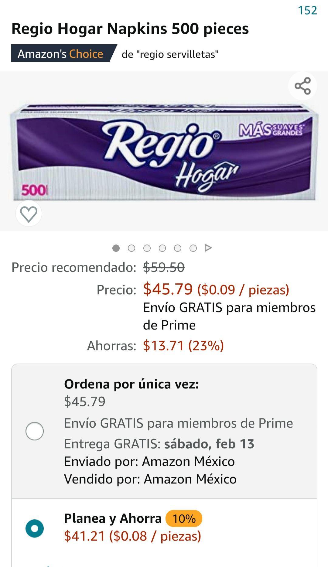 Amazon: Servilletas regio