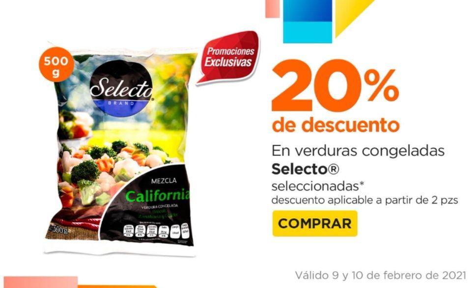 Chedraui: 20% de descuento en la compra de 2 o más verduras congeladas Selecto