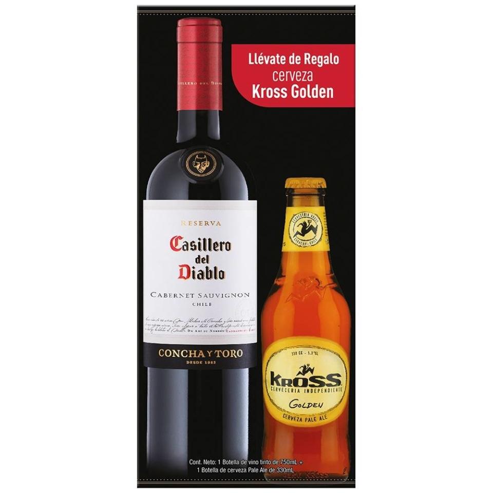 Walmart: Vino tinto Casillero del Diablo reserva 750 ml + Kross pale ale 330 ml | Más barato que 3x2