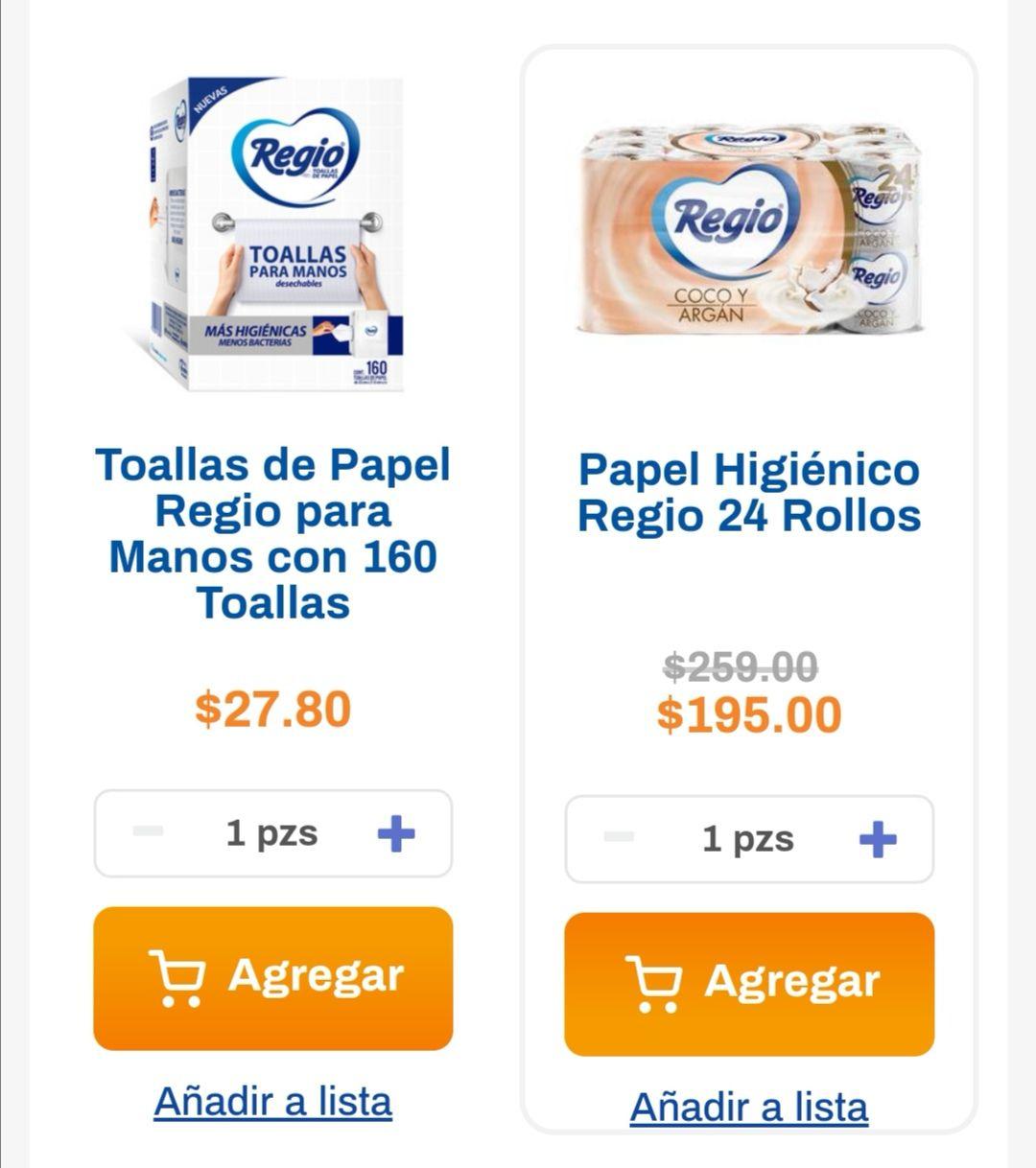 Chedraui: En la compra de 1 papel higiénico Regio Coco y Argan 24 rollos, gratis toallas desechables Regio 16 H