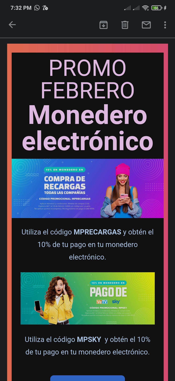 MisPagos Promo Febrero Monedero Electrónico en recargas y sky