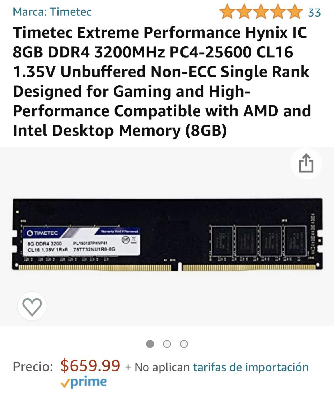 Amazon: Memoria RAM 8gb 3200mhz (value RAM)
