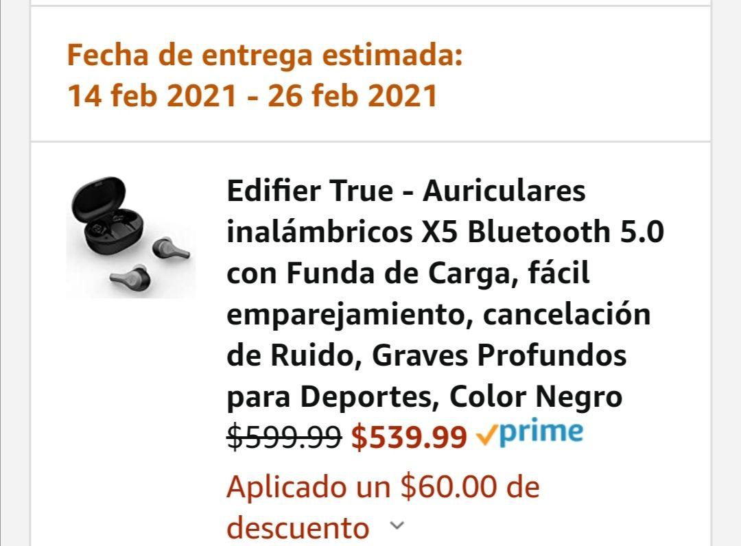 Amazon Edifier True - Auriculares inalámbricos X5 Bluetooth 5.0 con Funda de Carga, fácil emparejamiento, cancelación de Ruido