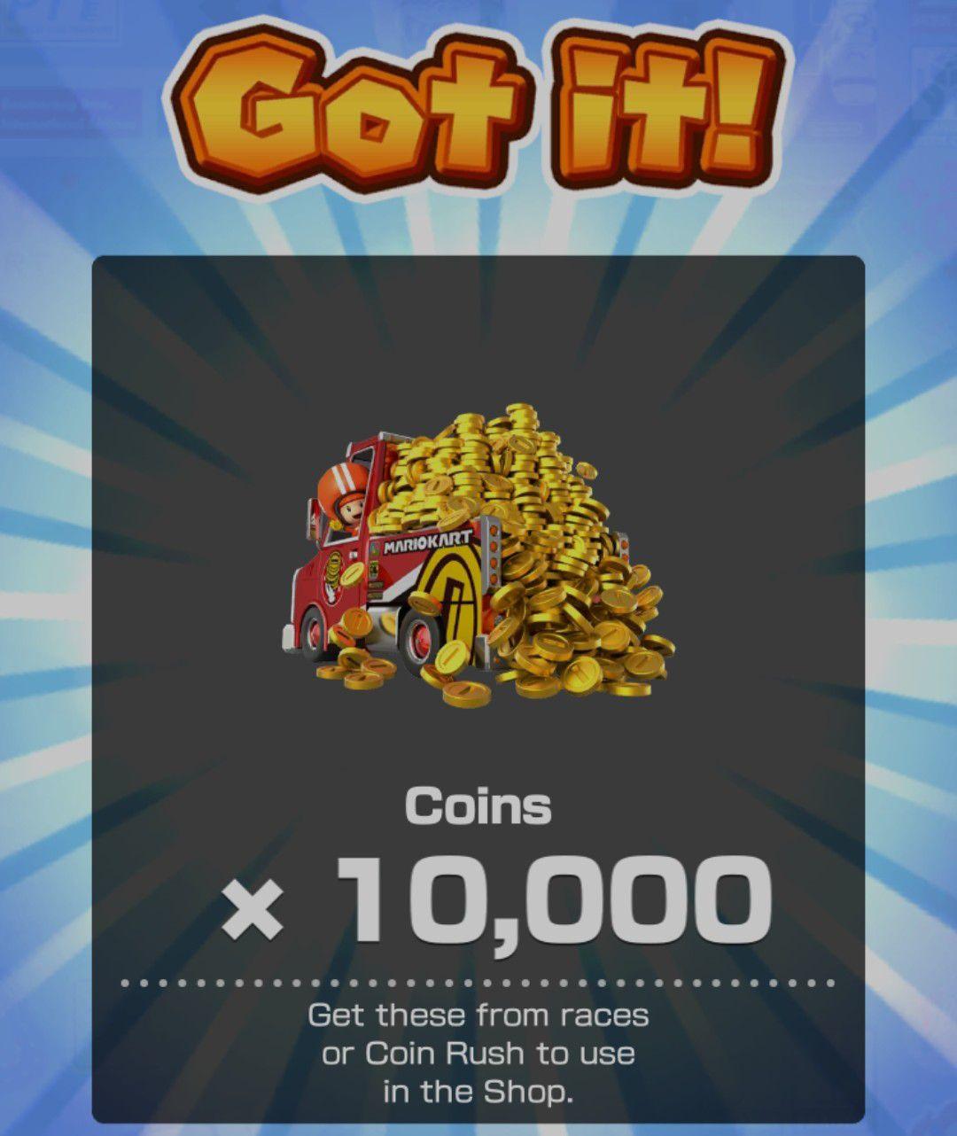 Nintendo: 10,000 monedas para Mario Kart Tour