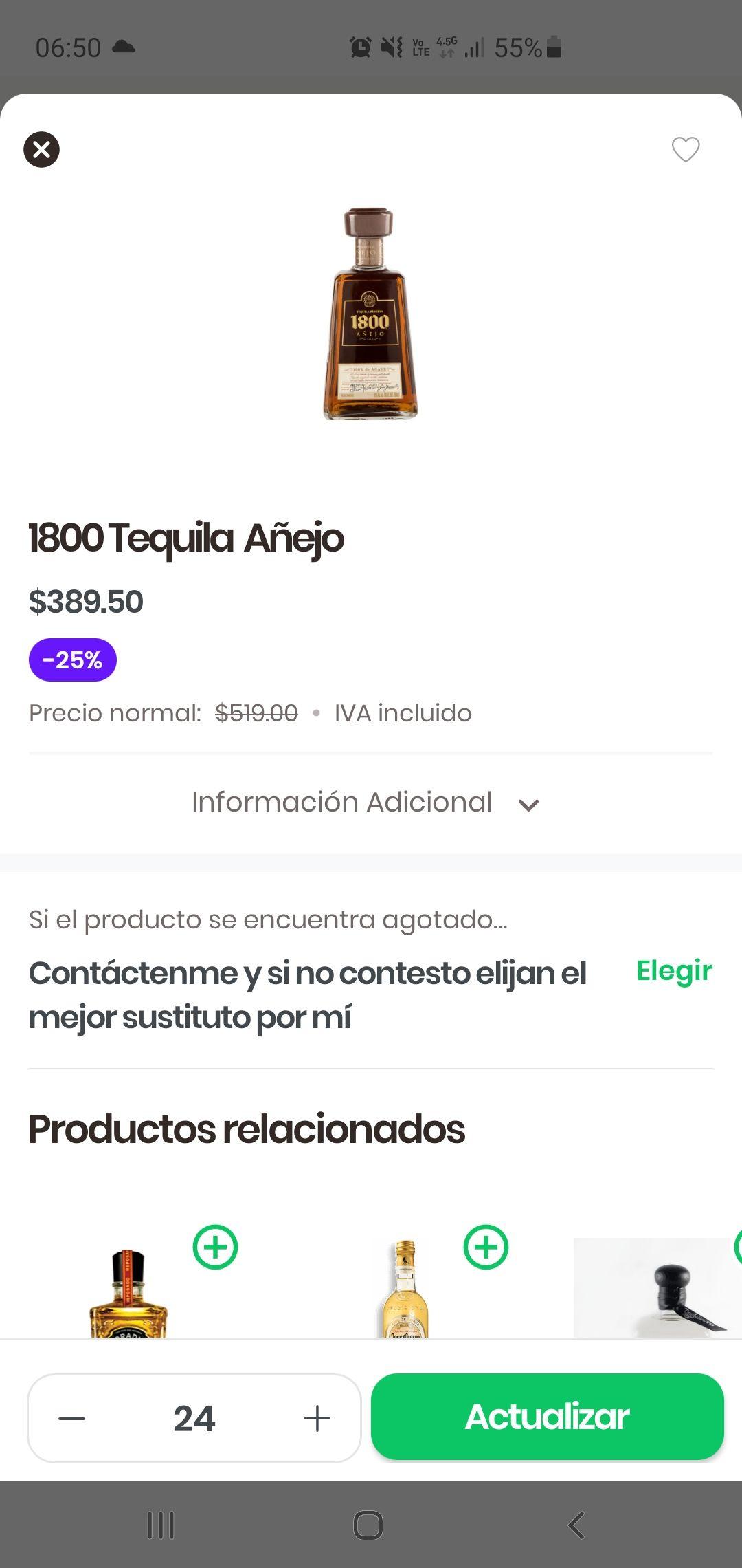 Rappi: Costco Tequila 1800 Añejo