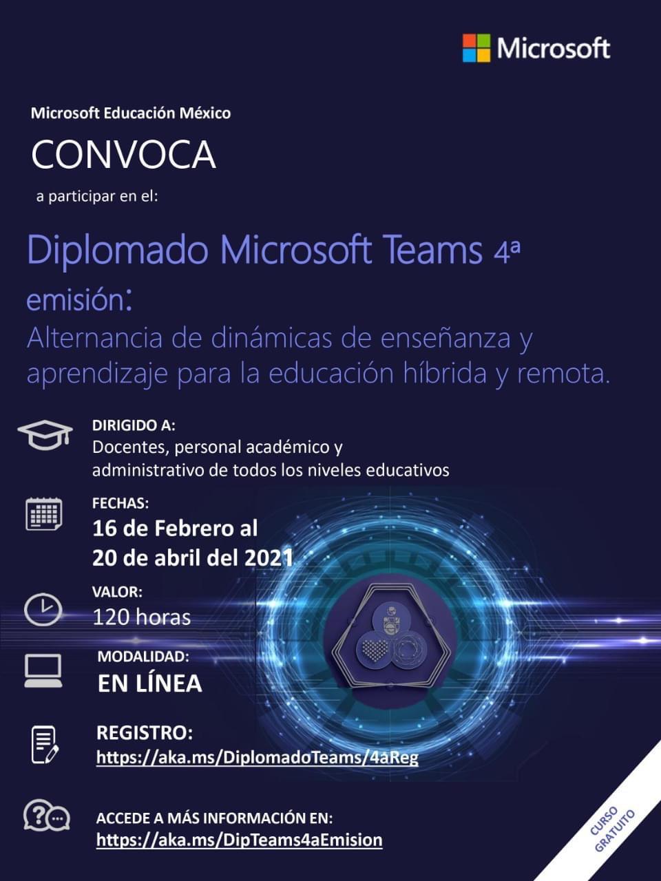 Diplomado Microsoft Teams. Enfocado a docentes. Gratis