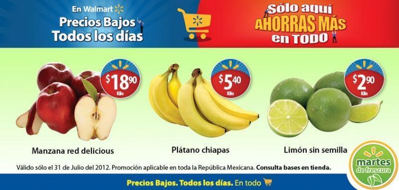 Martes de frescura Walmart julio 31: plátano $5.40, limón $2.90 y más