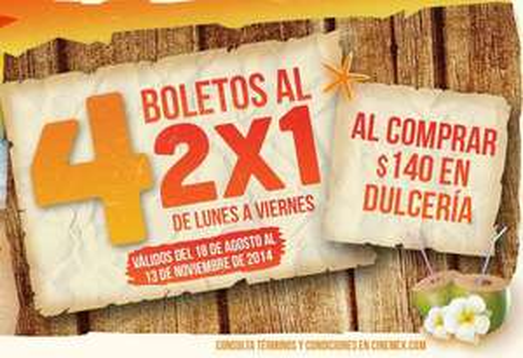 Verano Cinemex 2014: 2x1 para todas las salas o meses de cine gratis comprando en dulcería