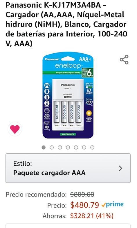 Amazon: Panasonic Cargador con 4 pilas AAA incluídas