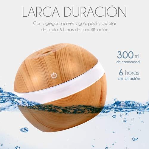 Amazon Difusor Humidificador de Aromas Ultrasónico Acabado Tipo Madera 300 ml con Luz Luces LED 7