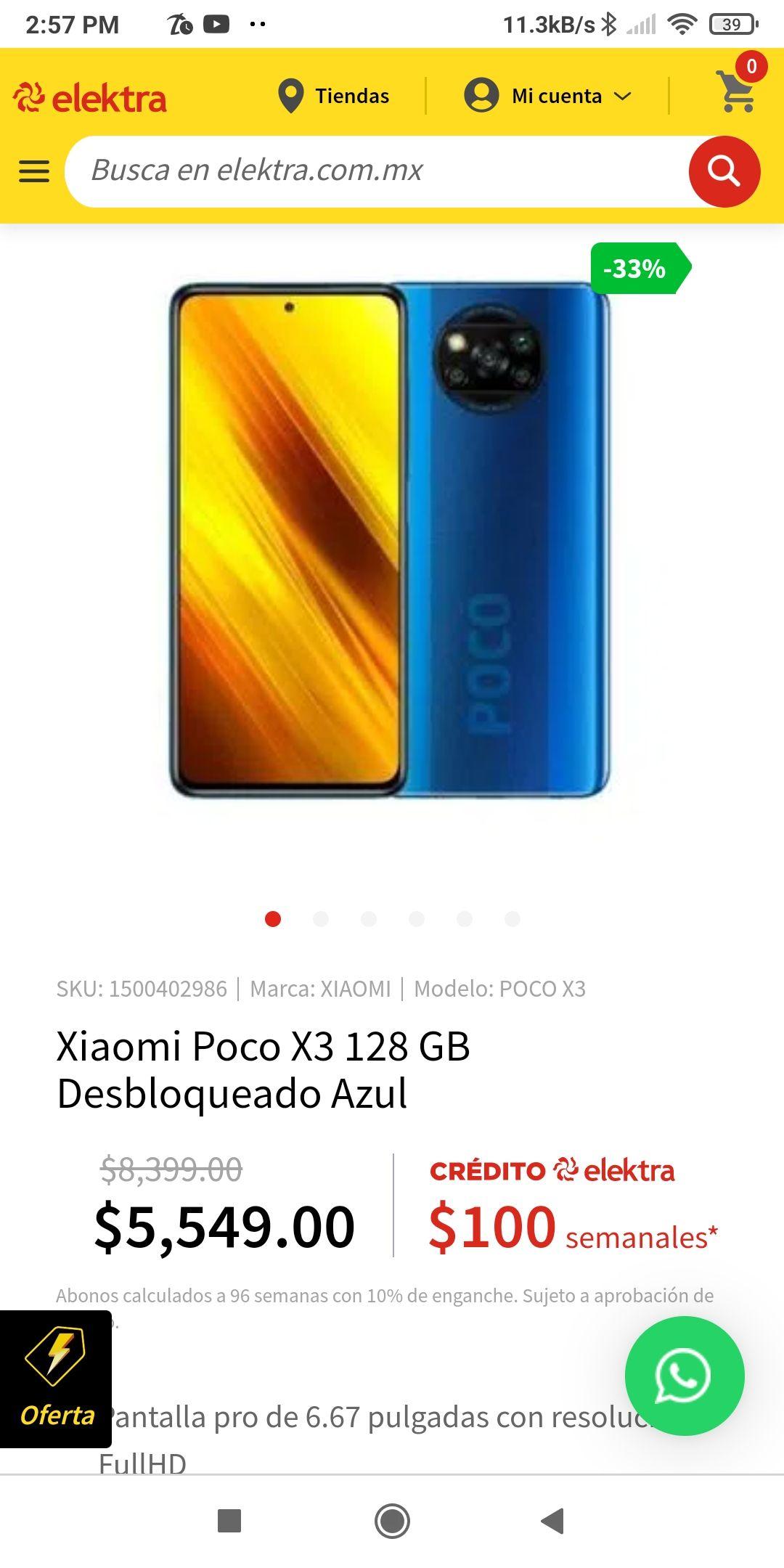 Elektra: Celular Poco X3 RAM 6GB ROM 128GB