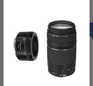 Best Buy - kit de dos lentes Canon - Lente EF 50mm f/1.8 STM + EF75 - 300mm f/4-5 - Negro