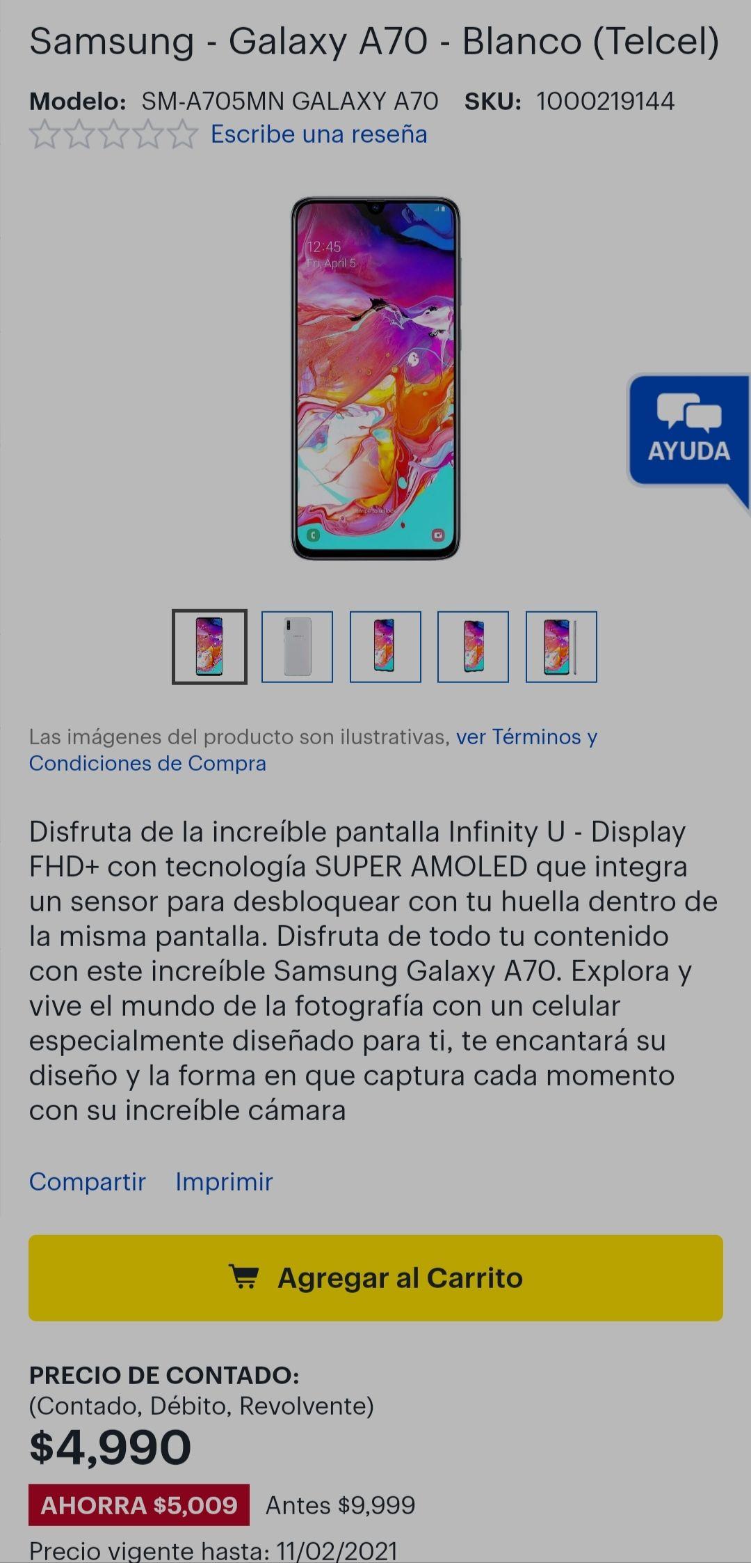Best Buy: Samsung a70. Color blanco y azul. De Telcel.