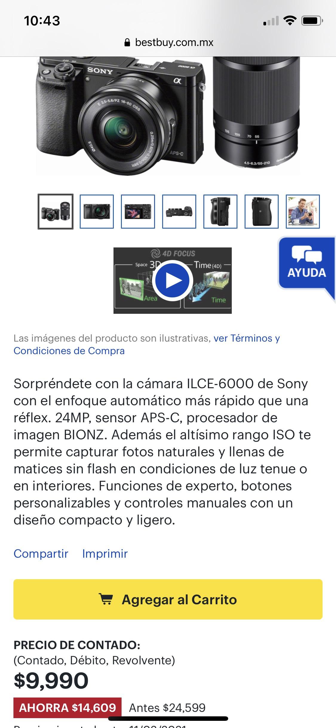 Best Buy: Sony alfa 6000 ahora si