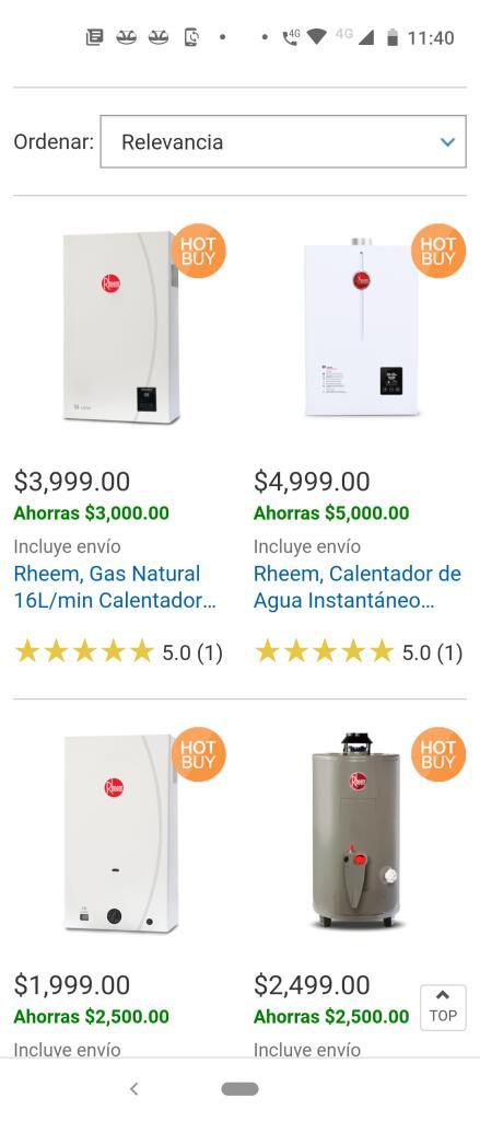 Costco: Rheem Calentadores de agua gas natural
