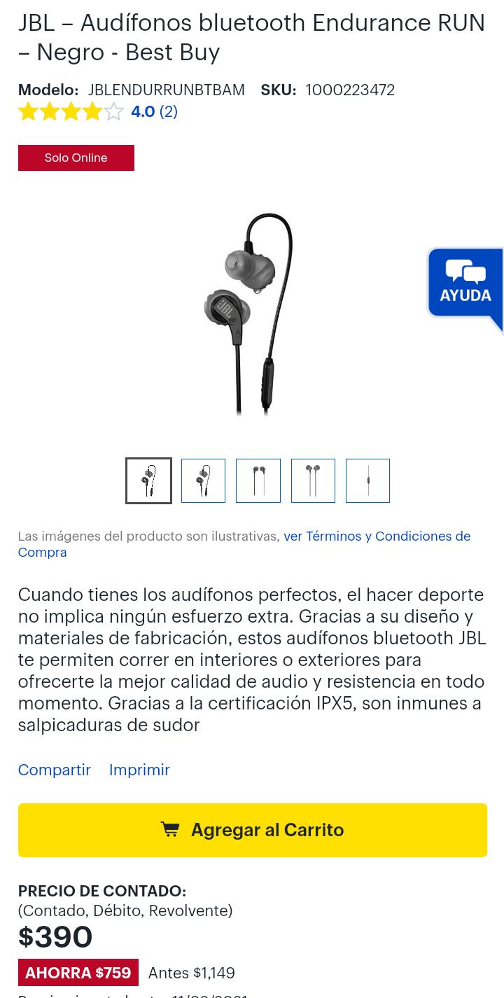 Best Buy: Audífonos Bluetooth JBL Endurance Run BT
